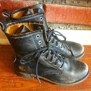Authentic FRYE Black Leather Combat boots